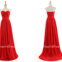 A line Prom Dress,Strapless Bridesmaid Dress,Chiffon Bridesmaid Dress,Red Bridesmaid Dress,Long Red Bridesmaid Dress DT100103