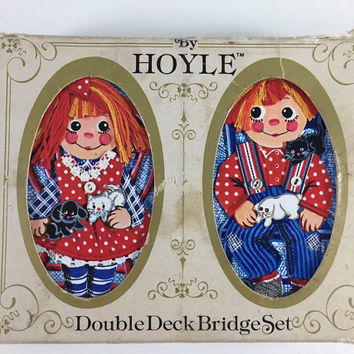 Vintage Raggedy Ann And Andy Playing Card Deck Double Deck Bridge Set By Hoyle Boy Girl Cat Dog Graphics Ephemera Scrapbook Crafts