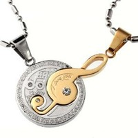 Musical Note Couple Matching Set Gold / Silver Color Pendants Necklace: Jewelry: Amazon.com