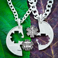 LPN Nurse Necklaces for Couples and Best Friends, Doctor and Nurse gifts by Namecoins