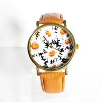Summer Daisy Floral Watch, Vintage Style Leather Watch, Women Watches, Boyfriend Watch,