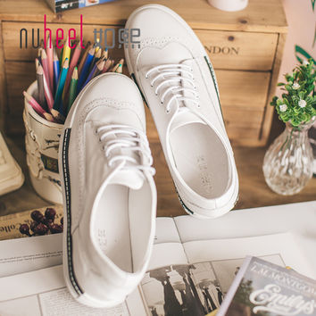 nuheel brand women Vulcanized shoes white solid Flat shoes girls solid lace up shoes lady high quality free shipping