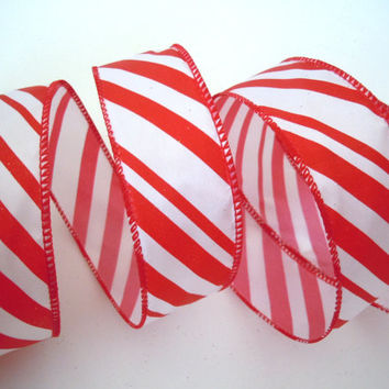 wired Christmas ribbon decorations red peppermint candy cane Christmas Ribbon wreaths make gift wrap red Christmas ribbon bow ribbon 5yd