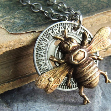 Queen Bee Necklace, Subway Token Necklace, Repurposed Vintage Token,  Assemblage Necklace, Whimiscal, Brass, Silver, Mixed Metal