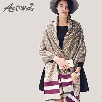 [AETRENDS] 2016 New Winter Women's Scarves Cashmere Plaid Scarf Double Sides Pashmina Shawl Z-3424