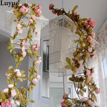 Wedding decoration Artificial Fake Silk Rose Flower Vine Hanging Garland Wedding Home Decor Decorative Flowers & Wreaths