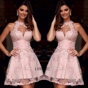 Elegant Short Pink Cocktail Dresses Halter Lace Appliques Short Prom Dress Backless Party Dresses Plus Robe De Cocktail 2016