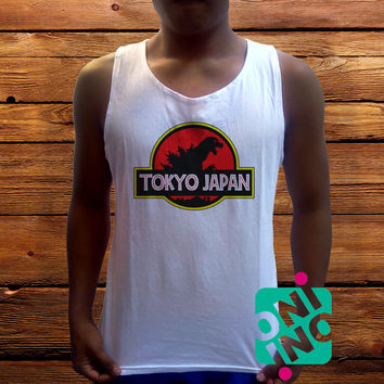 Tokyo Japan Men's White Cotton Solid Tank Top