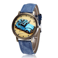 New Arrival Gift Designer's Trendy Good Price Great Deal Awesome Strong Character Stylish Blue Cars Dial Decoration Watch [9262738500]