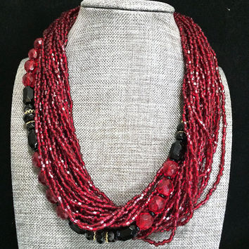Ruby Red Bead Torsade Necklace, Multi Strand Cut Glass Bugle Beads,  25 strands, Faceted Black Red Beads, Boho Gypsy Festival Style 718m