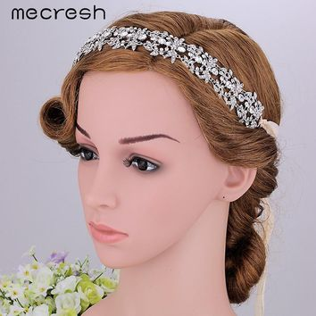 Mecresh Top Crystal Bridal Headband Heart-shaped Silver Color Rhinestone Wedding Hair Jewelry Accessories Party Gift MTS045