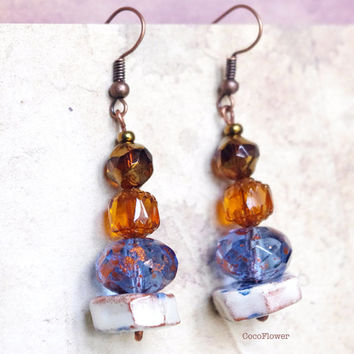 Blue Brown earrings / cute jewelry / Glass bead and ceramic / gift for her