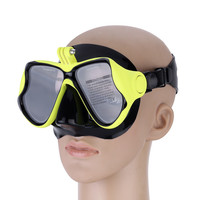 Yellow Snorkelling Scuba Diving Mask Goggles Swimming Face Mask with Bracket Mount for GoPro Cameras