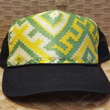 "Green and Yellow ""Tetris"" Hand Stitched Hawaiian Trucker Hat"