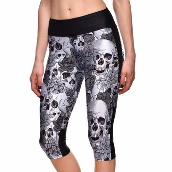 Hot Sales Grey Skull Plus Size Capris Pants For Women Sports S To 4xl Elastic Running Jogging Workout Leggings