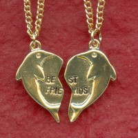 DOLPHIN Best Friends NECKLACES 2 Gold Plated Pendants and Chains bff