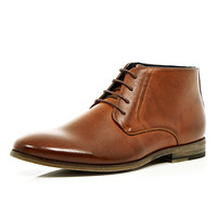 River Island MensLight brown lace up formal boots