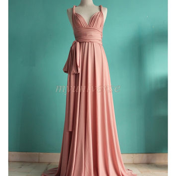 Wedding Bridesmaid Dress Wrap Convertible Dress Pastel Peach Infinity Dress Maxi Dress Women