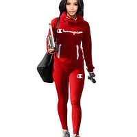 Champion Fashion New Letter Print Sports Leisure Keep Warm Long Sleeve Top And Pants Two Piece Suit Red