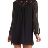 Black Lace Mock Neck Shift Dress by Charlotte Russe