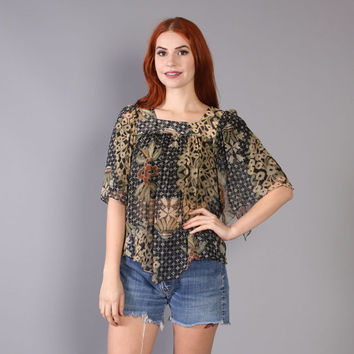 70s SHEER Boho TOP / Floral Grid Print Flutter Sleeve Blouse, xs-s