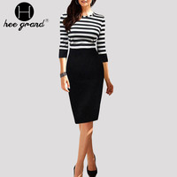 Autumn Pencil Dress Casual Striped Patchwork Half Sleeves Knee-Length Vestidos WQL4809