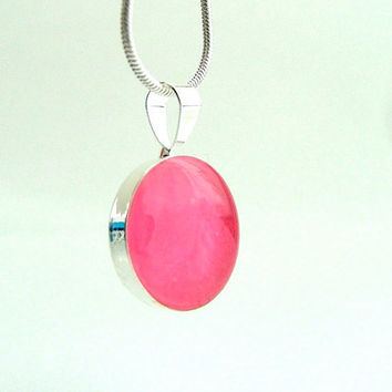 Neon Pink Jewelry Glow In the Dark Small Pendant - Tiny Pendant Necklace - hand made  pendant