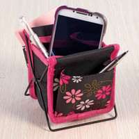 Floral Flower Desktop Cell Phone / Smartphone Caddy Pens, Desk Items Organizer