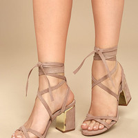 Ailsa Mauve Suede Lace-Up Heels
