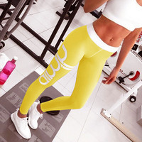 Letter printing speed dry yoga exercise Leggings