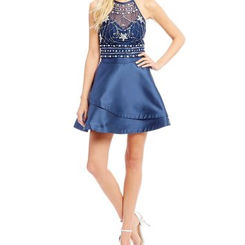 B. Darlin Beaded Top with Tiered Skirt Two-Piece Dress | Dillards