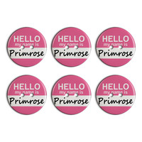 Primrose Hello My Name Is Plastic Resin Button Set of 6
