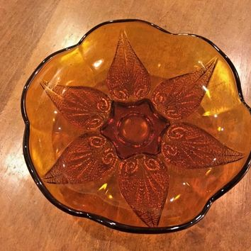 Vintage Pressed Glass Amber Round Serving Bowl Candy Dish Beaded Heart 8 in EUC