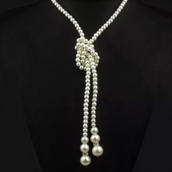 ON SALE - Long Knotted Pearl Bead Two Tassel Necklace