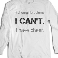 #cheergirlproblems-Unisex White T-Shirt
