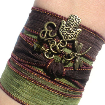 Hamsa Buddha Om Silk Wrap Bracelet Jewelry Namaste Evil Eye Yoga Arm Band Anklet Necklace Green Burgundy Fall Unique Gift Under 50 Item Y132