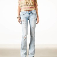AEO Women's Modern Flare Jean (Light Destroy Wash)