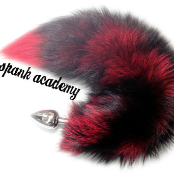 "COSPLAY TAIL, 18""-19"" Indigo Fox Tail Dyed RED, with/without detachable/non-detachable stainless steel/silicone Butt Plug Tail, 3 sizes!"