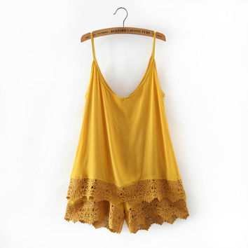Stylish Summer Lace Cotton Spaghetti Strap Romper [4933133252]