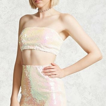 Two-Tone Sequin Mini Skirt
