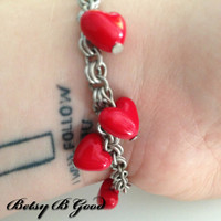 Kawaii Bright Red Love Hearts Bracelet on a Chainmaille Antique Silver Chain Cute Rockabilly Kitsch