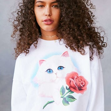 Truly Madly Deeply Airbrush Cat Long-Sleeve Tee - Urban Outfitters