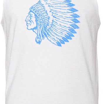Indian Chief (Blue) Tank-Top T-Shirt