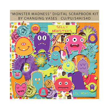 Digital Scrapbooking Kit, Monster Madness, Monster Clipart, Outer Space Clip Art Graphics, Green Orange Pink Teal, Purple, Boy Scrapbook Kit