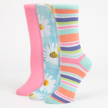 3 Pack Daisies Womens Socks Mint One Size For Women 25856852301