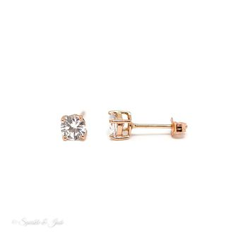 Rose Gold Plated Sterling Silver 5mm Round Stud Earrings