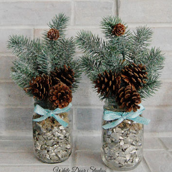 Mason Jar Potted Evergreen, Winter Decor, Christmas Decor, Modern Rustic, Farmhouse, Greenery Arrangement