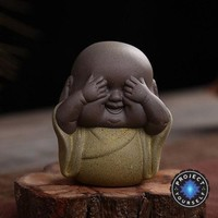 "Handmade ""See No Evil, Hear No Evil, Speak No Evil"" Buddha Purple Sand Tea Pet"