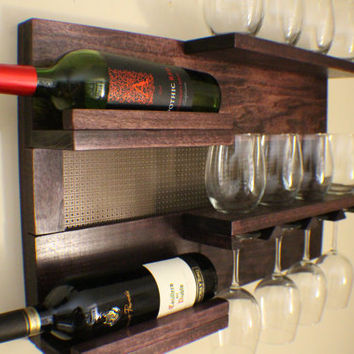 Stunning Dark Cherry Stained Wall Mounted Wine and Liquor Rack with Shelves and Decorative Metal Mesh Wine/Liquor Shelf/Cabinet
