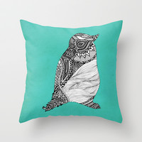 Tribal Penguin Throw Pillow by Pom Graphic Design